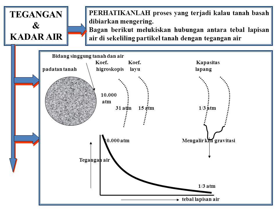 TEGANGAN & KADAR AIR PERHATIKANLAH proses yang terjadi kalau tanah basah dibiarkan mengering. Bagan berikut melukiskan hubungan antara tebal lapisan a