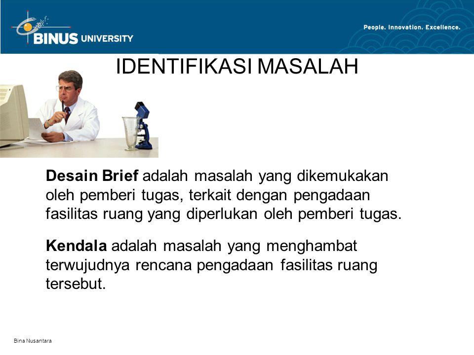 Bina Nusantara IDENTIFIKASI MASALAH Desain Brief adalah masalah yang dikemukakan oleh pemberi tugas, terkait dengan pengadaan fasilitas ruang yang dip