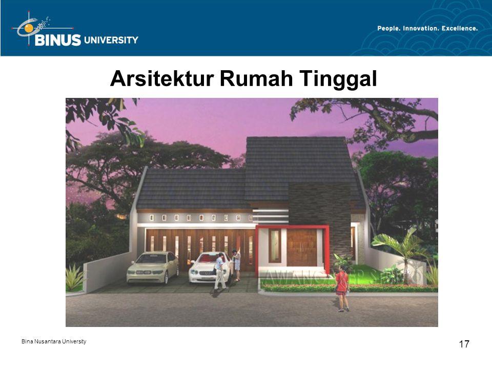 Bina Nusantara University 17 Arsitektur Rumah Tinggal