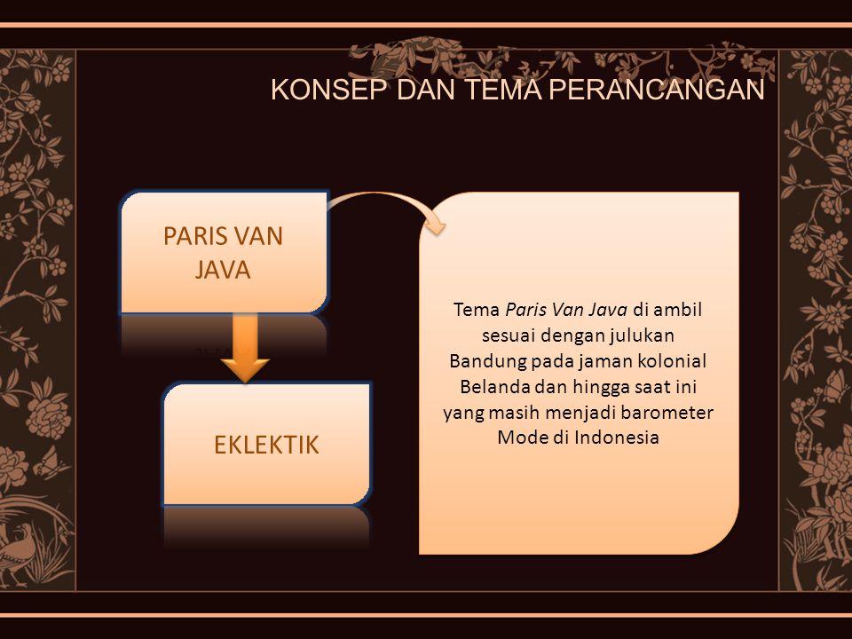 KONSEP DAN TEMA PERANCANGAN Tema Paris Van Java di ambil sesuai dengan julukan Bandung pada jaman kolonial Belanda dan hingga saat ini yang masih menj
