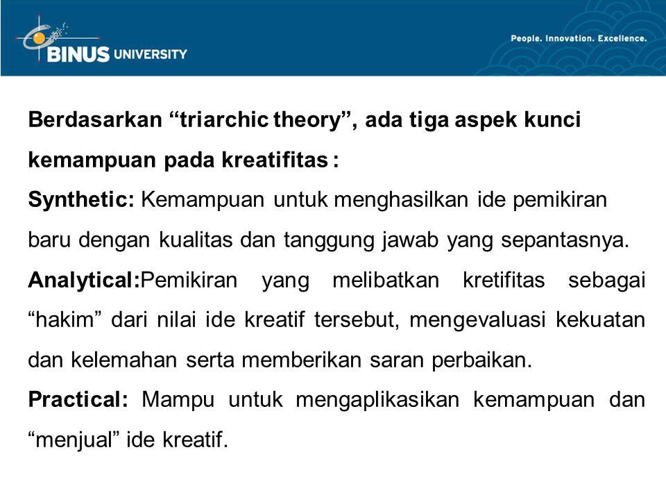 Berdasarkan triarchic theory , ada tiga aspek kunci kemampuan pada kreatifitas : Synthetic: Kemampuan untuk menghasilkan ide pemikiran baru dengan kualitas dan tanggung jawab yang sepantasnya.