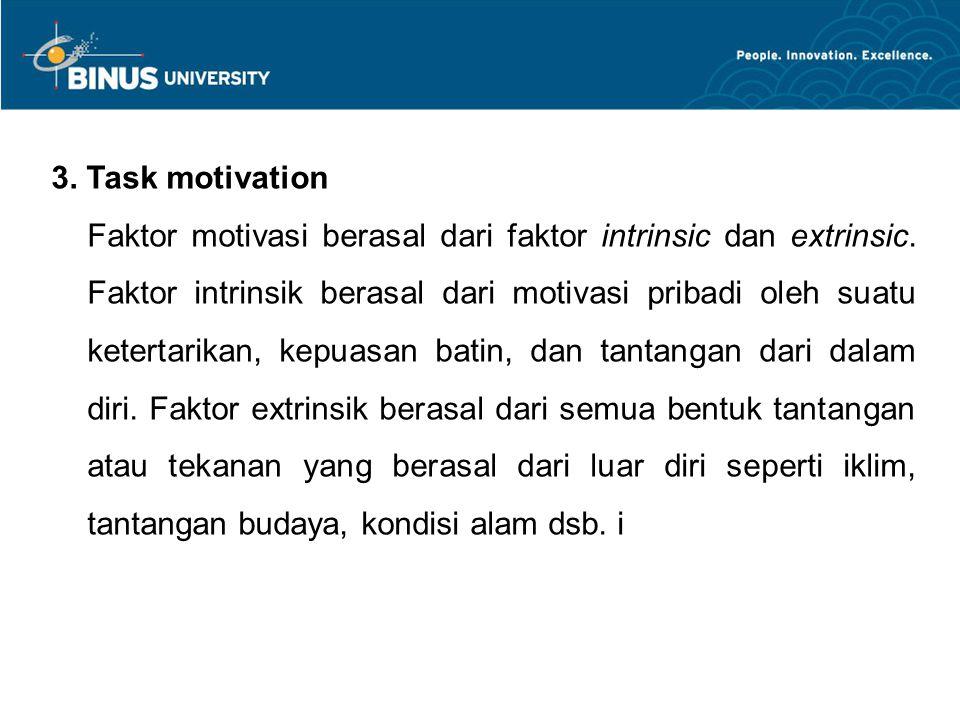 3.Task motivation Faktor motivasi berasal dari faktor intrinsic dan extrinsic.
