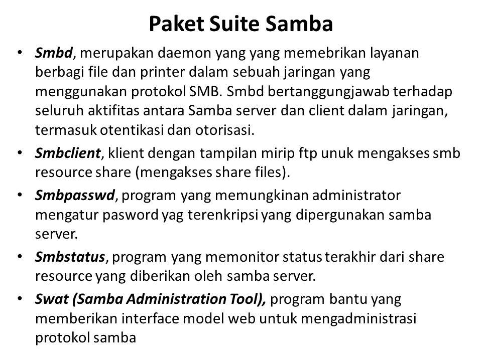 Paket Suite Samba Smbd, merupakan daemon yang yang memebrikan layanan berbagi file dan printer dalam sebuah jaringan yang menggunakan protokol SMB.