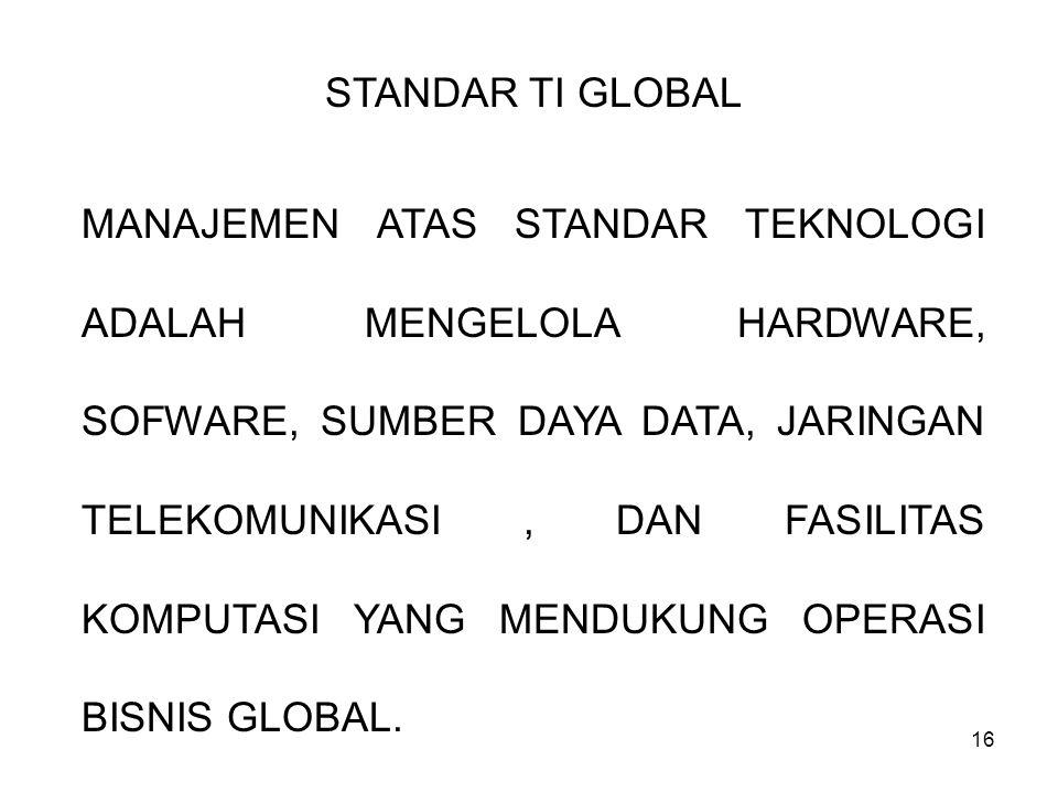 16 STANDAR TI GLOBAL MANAJEMEN ATAS STANDAR TEKNOLOGI ADALAH MENGELOLA HARDWARE, SOFWARE, SUMBER DAYA DATA, JARINGAN TELEKOMUNIKASI, DAN FASILITAS KOM