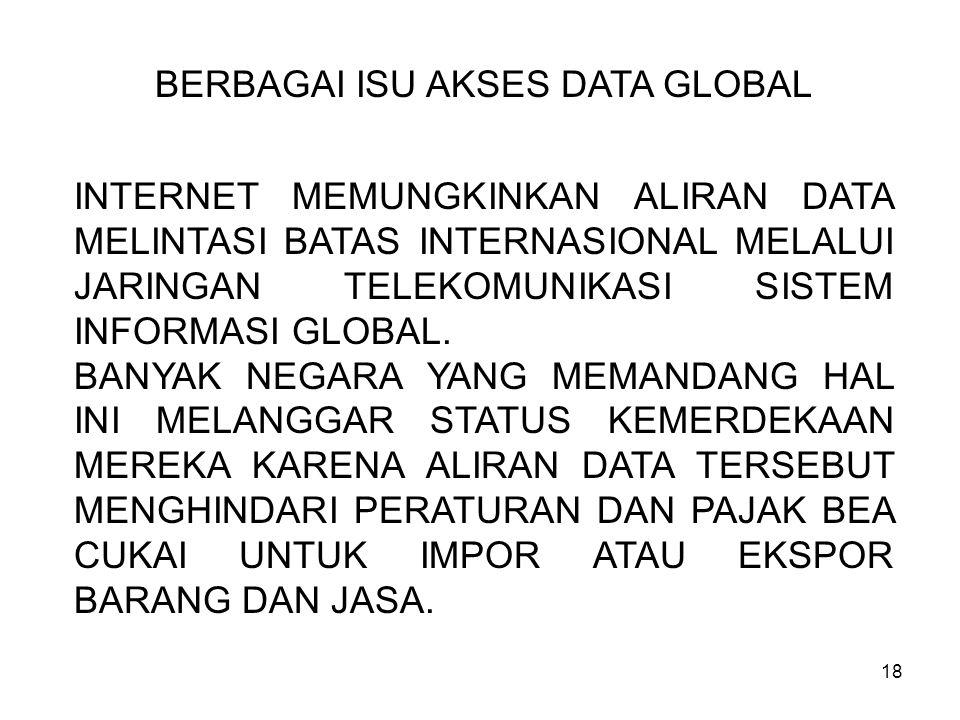 18 BERBAGAI ISU AKSES DATA GLOBAL INTERNET MEMUNGKINKAN ALIRAN DATA MELINTASI BATAS INTERNASIONAL MELALUI JARINGAN TELEKOMUNIKASI SISTEM INFORMASI GLO