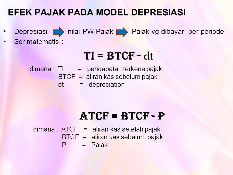 EFEK PAJAK PADA MODEL DEPRESIASI Depresiasi nilai PW Pajak Pajak yg dibayar per periode Scr matematis : TI = BTCF - dt dimana : TI = pendapatan terkena pajak BTCF = aliran kas sebelum pajak dt = depreciation ATCF = BTCF - P dimana : ATCF = aliran kas setelah pajak BTCF = aliran kas sebelum pajak P = Pajak