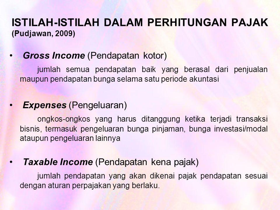 ISTILAH-ISTILAH DALAM PERHITUNGAN PAJAK (Pudjawan, 2009) Gross Income (Pendapatan kotor) jumlah semua pendapatan baik yang berasal dari penjualan maupun pendapatan bunga selama satu periode akuntasi Expenses (Pengeluaran) ongkos-ongkos yang harus ditanggung ketika terjadi transaksi bisnis, termasuk pengeluaran bunga pinjaman, bunga investasi/modal ataupun pengeluaran lainnya Taxable Income (Pendapatan kena pajak) jumlah pendapatan yang akan dikenai pajak pendapatan sesuai dengan aturan perpajakan yang berlaku.