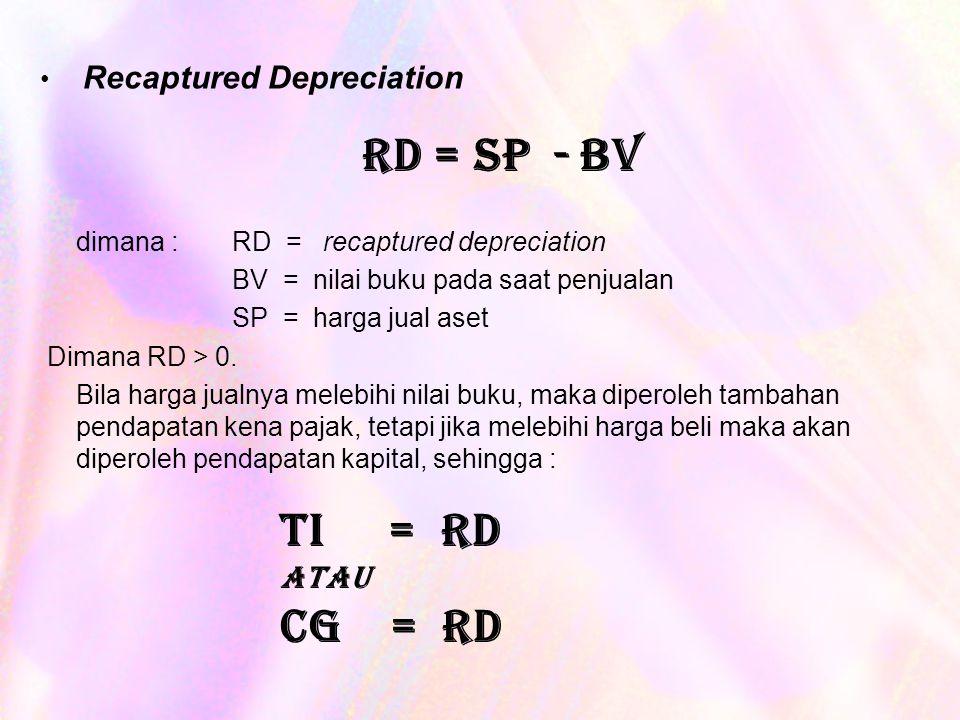 Recaptured Depreciation dimana : RD = recaptured depreciation BV = nilai buku pada saat penjualan SP = harga jual aset Dimana RD > 0.