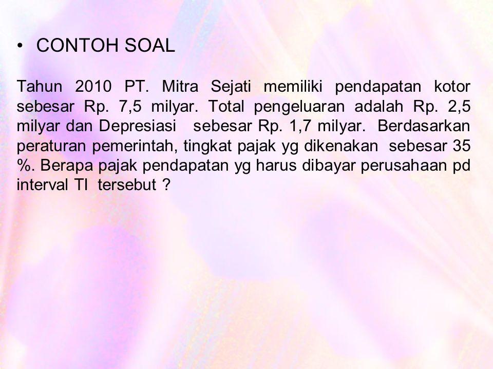 CONTOH SOAL Tahun 2010 PT.Mitra Sejati memiliki pendapatan kotor sebesar Rp.