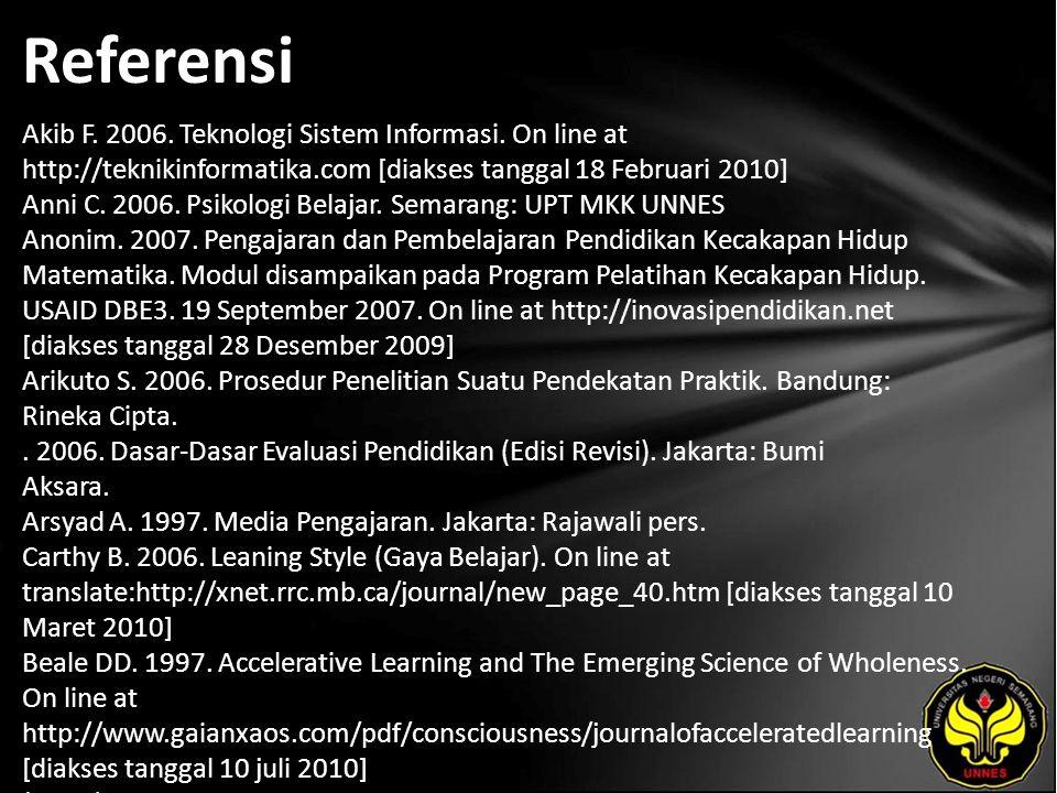 Referensi Akib F. 2006. Teknologi Sistem Informasi. On line at http://teknikinformatika.com [diakses tanggal 18 Februari 2010] Anni C. 2006. Psikologi