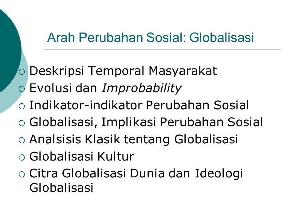 Arah Perubahan Sosial: Globalisasi  Deskripsi Temporal Masyarakat  Evolusi dan Improbability  Indikator-indikator Perubahan Sosial  Globalisasi, I