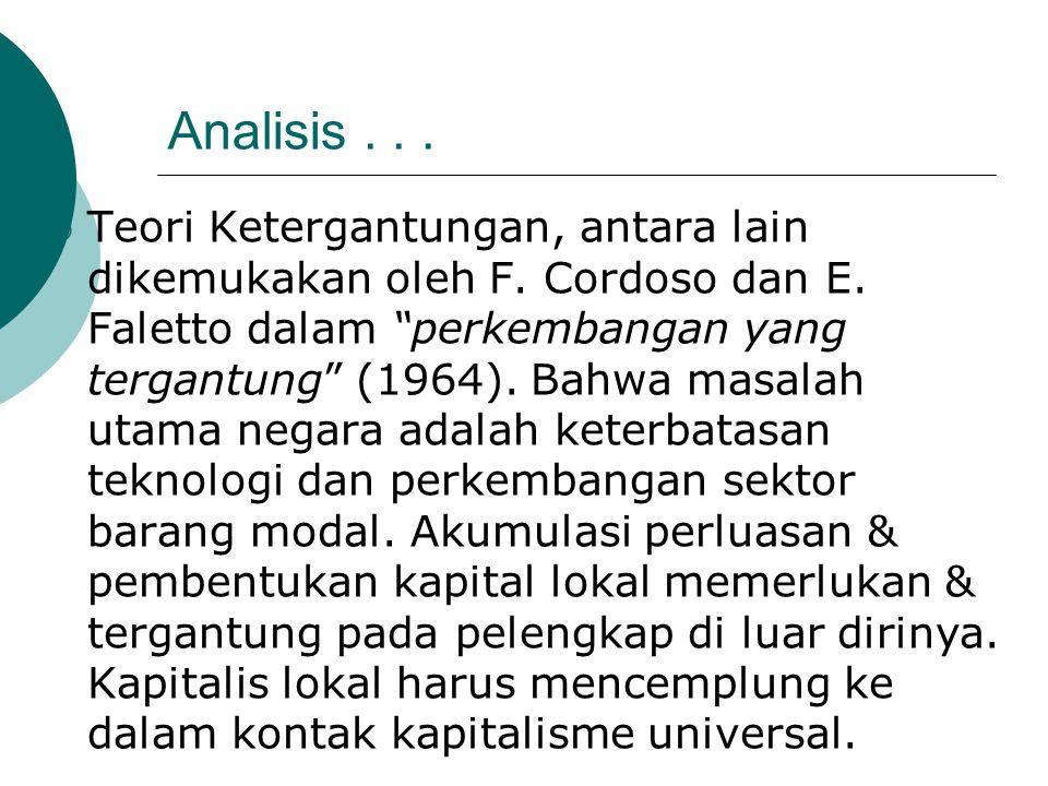 """Analisis...  Teori Ketergantungan, antara lain dikemukakan oleh F. Cordoso dan E. Faletto dalam """"perkembangan yang tergantung"""" (1964). Bahwa masalah"""