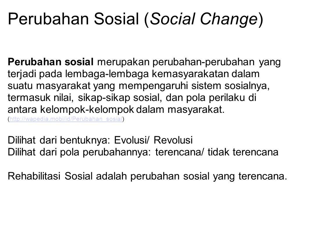 Perubahan Sosial (Social Change) Perubahan sosial merupakan perubahan-perubahan yang terjadi pada lembaga-lembaga kemasyarakatan dalam suatu masyaraka