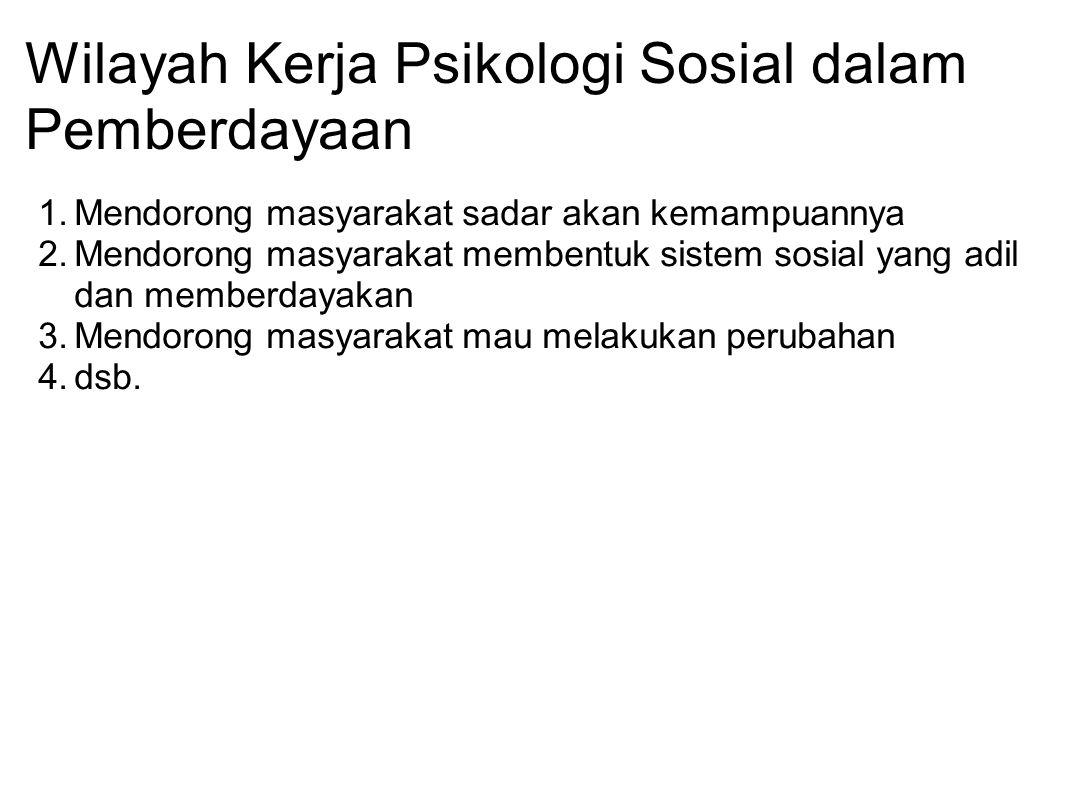 Wilayah Kerja Psikologi Sosial dalam Pemberdayaan 1.Mendorong masyarakat sadar akan kemampuannya 2.Mendorong masyarakat membentuk sistem sosial yang a