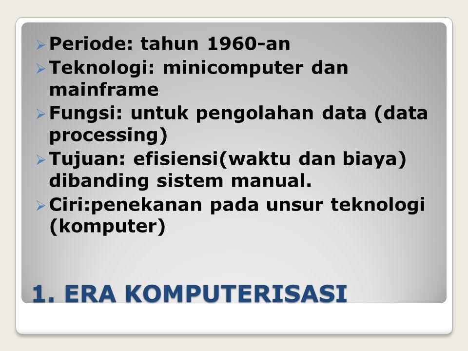 1. ERA KOMPUTERISASI  Periode: tahun 1960-an  Teknologi: minicomputer dan mainframe  Fungsi: untuk pengolahan data (data processing)  Tujuan: efis