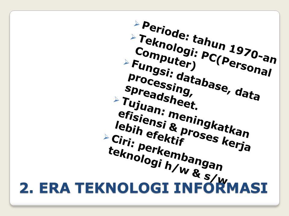 3.ERA SISTEM INFORMASI  Periode: tahun 1980-an  Teknologi: PC & Portable-Computer  Fungsi: penciptaan dan penguasaan informasi  Tujuan: peningkatan kualitas pelayanan untuk keunggulan kompetitif  Ciri: penggunaan/penerapa n sistem informasi berbasis komputer
