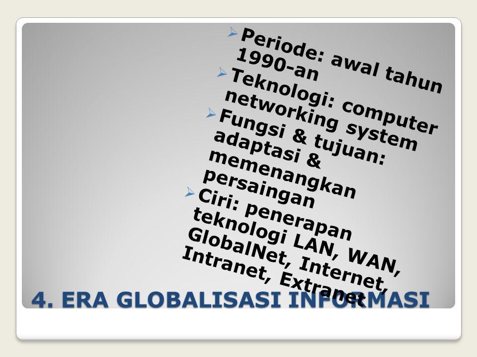 4. ERA GLOBALISASI INFORMASI  Periode: awal tahun 1990-an  Teknologi: computer networking system  Fungsi & tujuan: adaptasi & memenangkan persainga