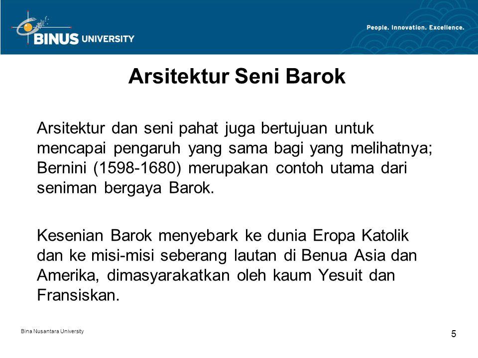 Bina Nusantara University 6 Arsitektur Barok