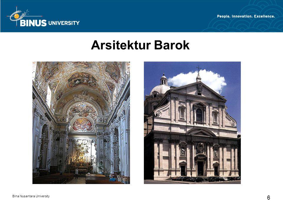Bina Nusantara University 7 Arsitektur Barok