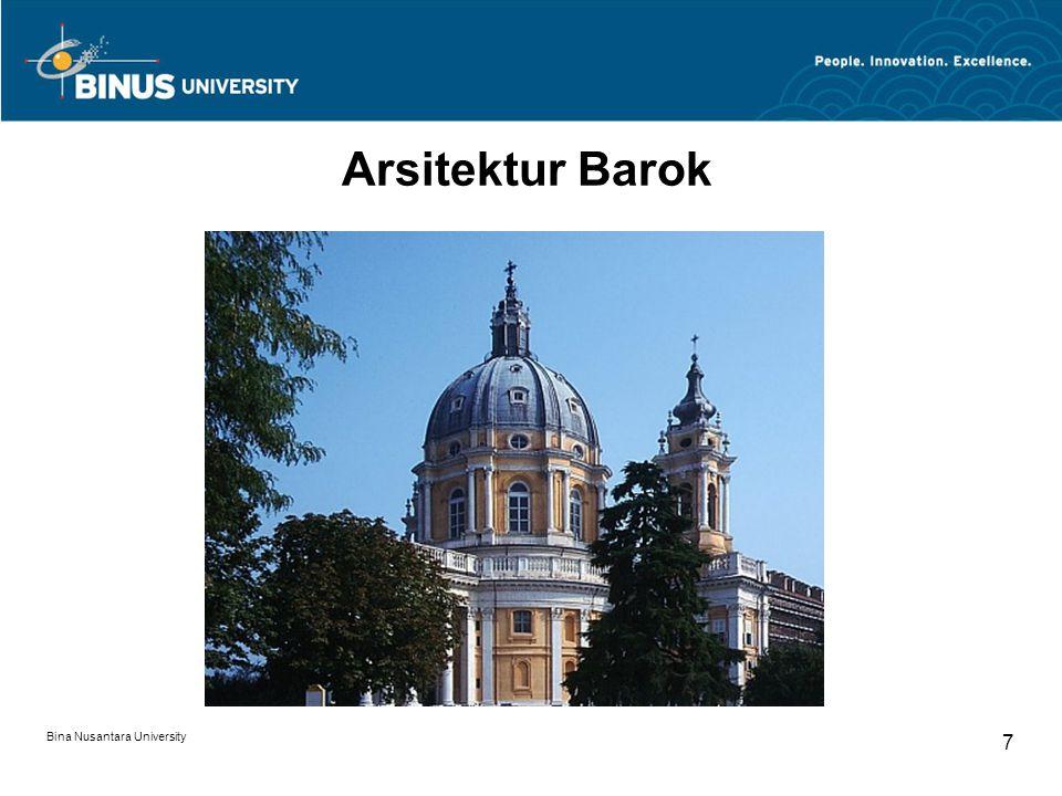 Bina Nusantara University 8 Arsitektur Barok
