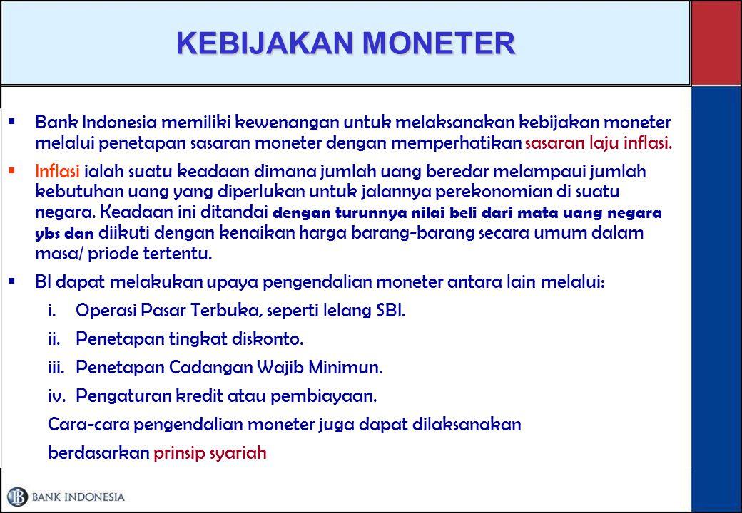TUGAS BANK INDONESIA Menetapkan dan melaksanakan kebijakan moneter.