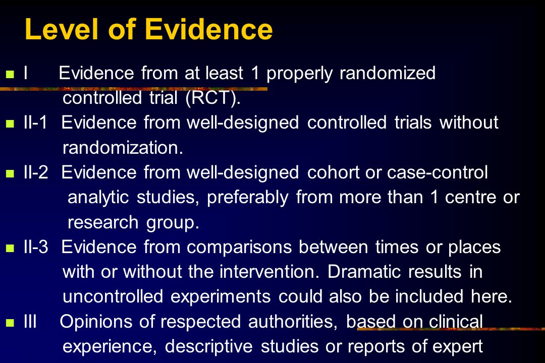 Level of Evidence I Evidence from at least 1 properly randomized controlled trial (RCT). II-1 Evidence from well-designed controlled trials without ra