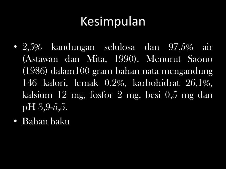Kesimpulan 2,5% kandungan selulosa dan 97,5% air (Astawan dan Mita, 1990). Menurut Saono (1986) dalam100 gram bahan nata mengandung 146 kalori, lemak