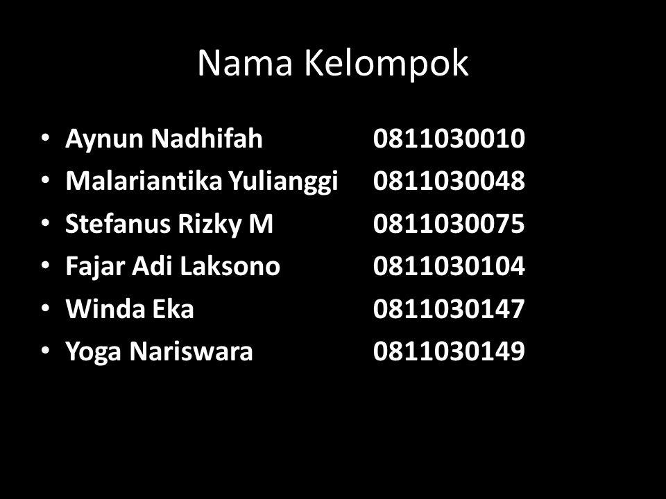 Nama Kelompok Aynun Nadhifah 0811030010 Malariantika Yulianggi0811030048 Stefanus Rizky M0811030075 Fajar Adi Laksono0811030104 Winda Eka0811030147 Yoga Nariswara0811030149