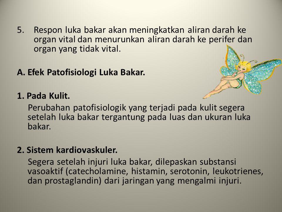 5.Respon luka bakar akan meningkatkan aliran darah ke organ vital dan menurunkan aliran darah ke perifer dan organ yang tidak vital. A. Efek Patofisio