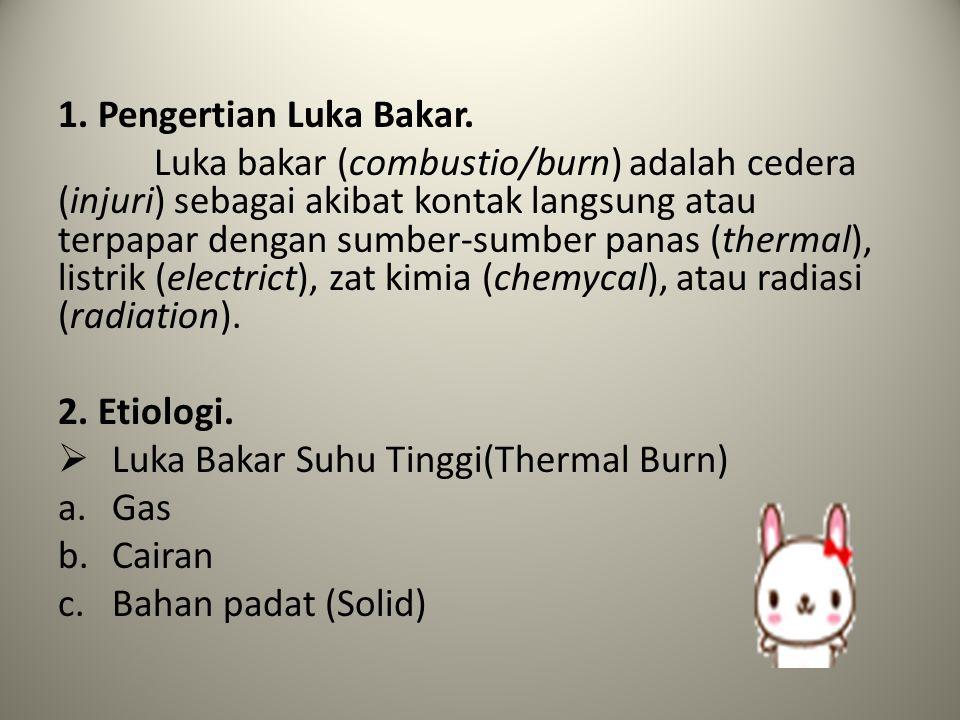 1. Pengertian Luka Bakar. Luka bakar (combustio/burn) adalah cedera (injuri) sebagai akibat kontak langsung atau terpapar dengan sumber-sumber panas (