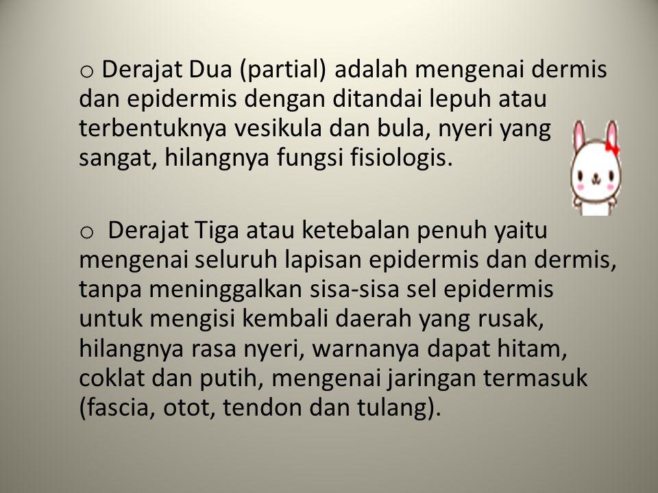 o Derajat Dua (partial) adalah mengenai dermis dan epidermis dengan ditandai lepuh atau terbentuknya vesikula dan bula, nyeri yang sangat, hilangnya f
