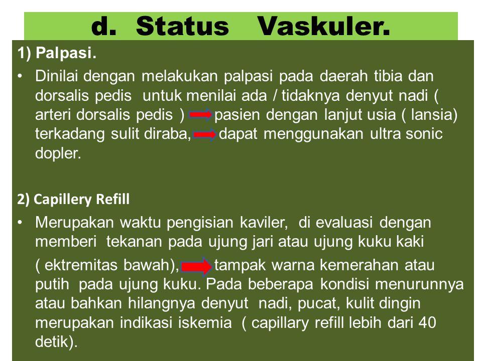 d.Status Vaskuler. 1) Palpasi.