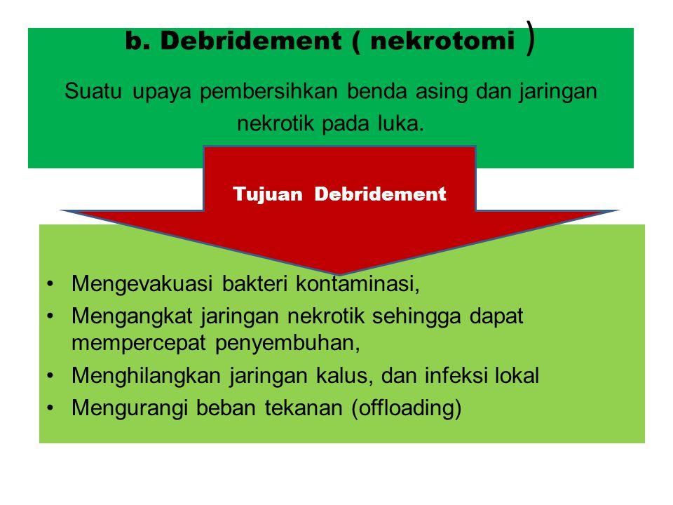 b.Debridement ( nekrotomi ) Suatu upaya pembersihkan benda asing dan jaringan nekrotik pada luka.