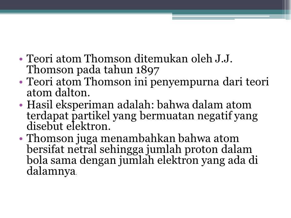 Teori atom Thomson ditemukan oleh J.J.