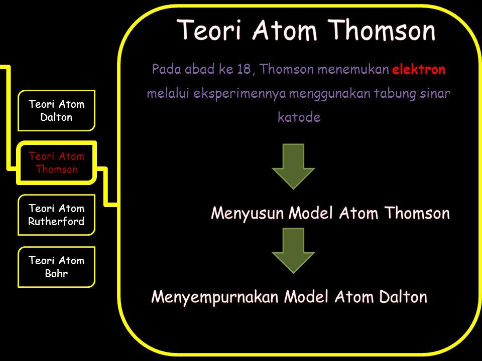 Pada abad ke 18, Thomson menemukan elektron melalui eksperimennya menggunakan tabung sinar katode Teori Atom Dalton Teori Atom Thomson Teori Atom Rutherford Teori Atom Bohr