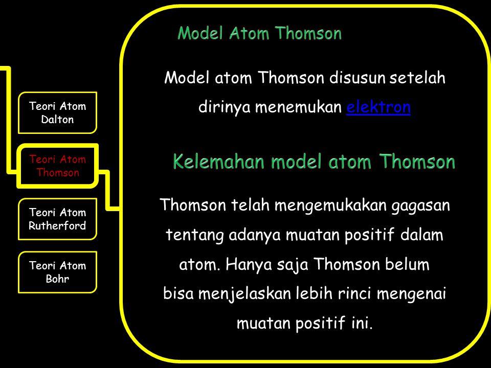 Model atom Thomson disusun setelah dirinya menemukan elektronelektron Thomson telah mengemukakan gagasan tentang adanya muatan positif dalam atom. Han