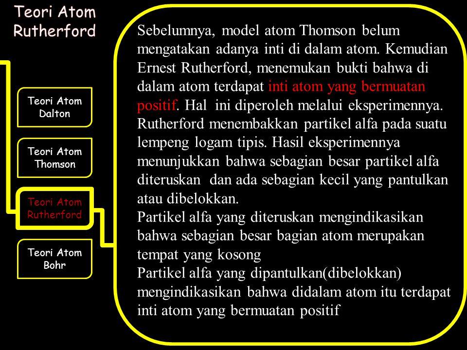 Teori Atom Dalton Teori Atom Thomson Teori Atom Rutherford Teori Atom Bohr Sebelumnya, model atom Thomson belum mengatakan adanya inti di dalam atom.