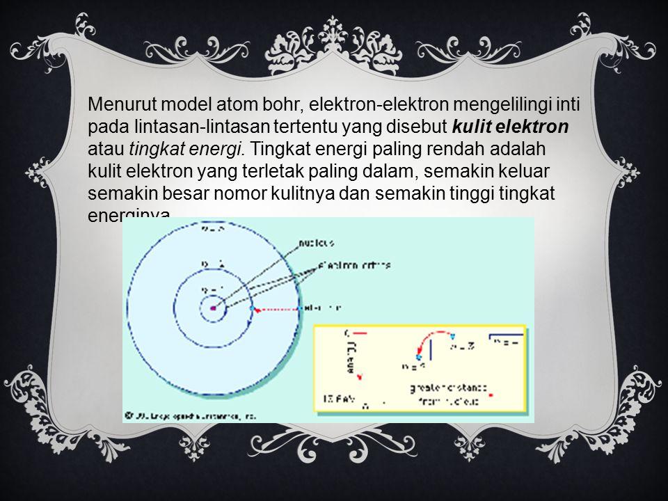 Menurut model atom bohr, elektron-elektron mengelilingi inti pada lintasan-lintasan tertentu yang disebut kulit elektron atau tingkat energi. Tingkat