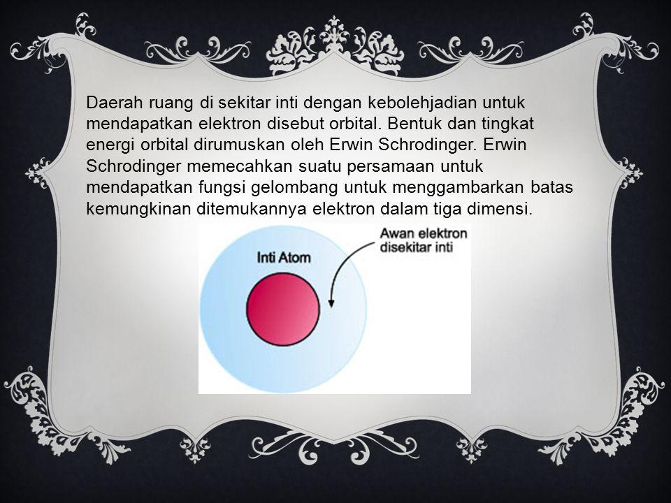 Daerah ruang di sekitar inti dengan kebolehjadian untuk mendapatkan elektron disebut orbital. Bentuk dan tingkat energi orbital dirumuskan oleh Erwin