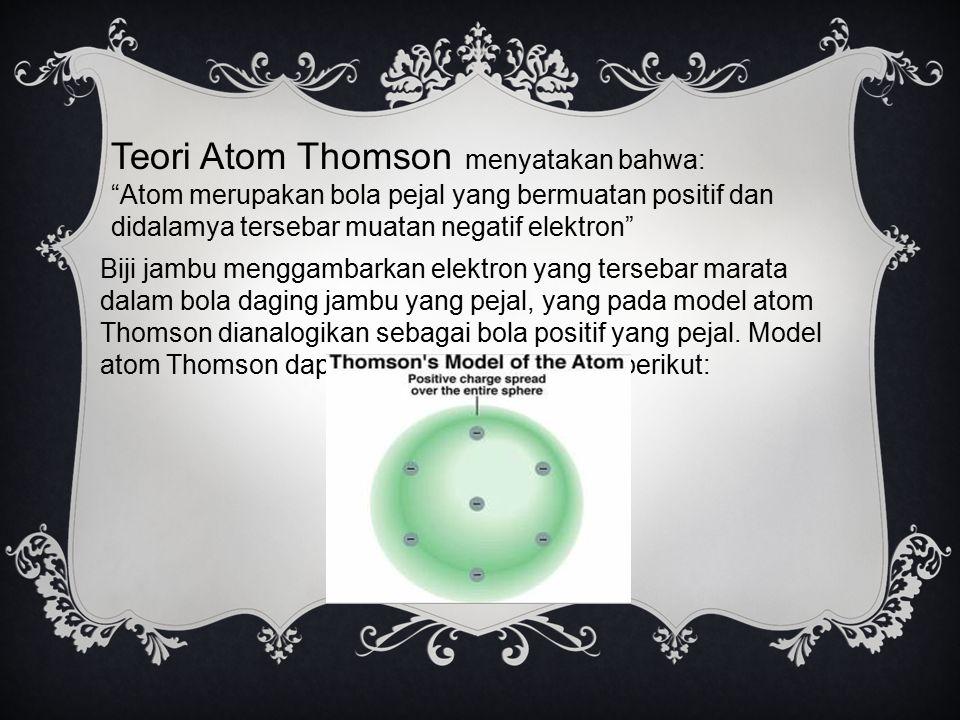 """Teori Atom Thomson menyatakan bahwa: """"Atom merupakan bola pejal yang bermuatan positif dan didalamya tersebar muatan negatif elektron"""" Biji jambu meng"""
