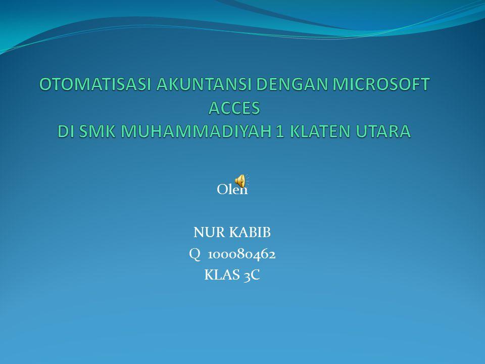 Oleh NUR KABIB Q 100080462 KLAS 3C