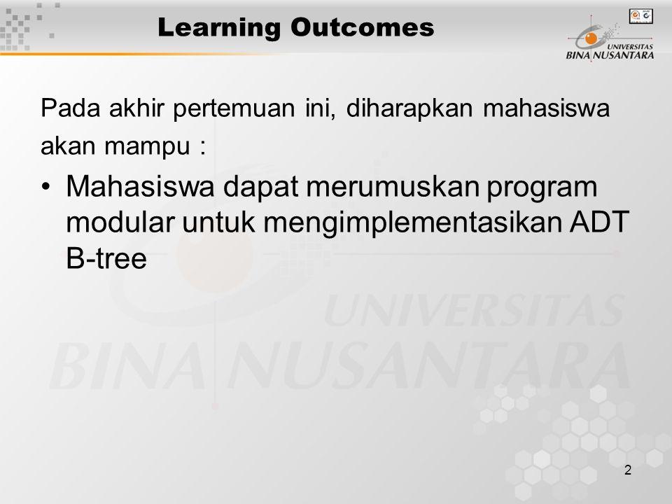 3 Outline Materi pengertian dan kegunaan B-Tree Contoh B-Tree Operasi - operasi B-Tree implementasi program B-Tree