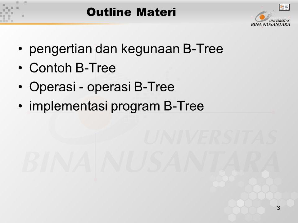 4 B-Tree Balanced Multiway Search Tree Data sangat banyak biasa disimpan di disk eksternal.