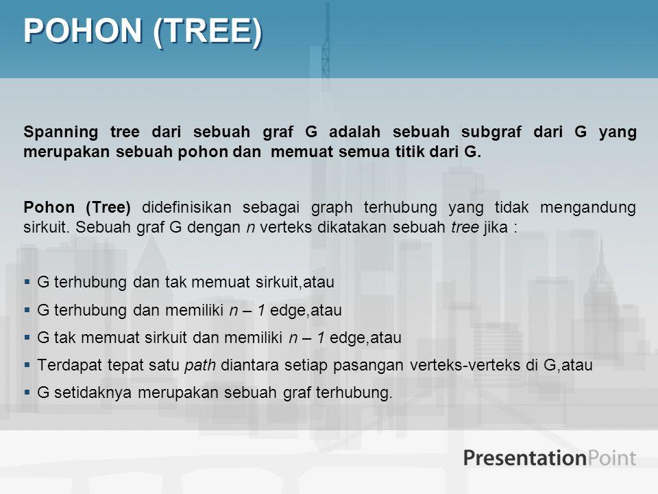  Pohon (Tree) didefinisikan sebagai graph terhubung yang tidak mengandung sirkuit dengan n verteks dan memiliki n – 1 edge.