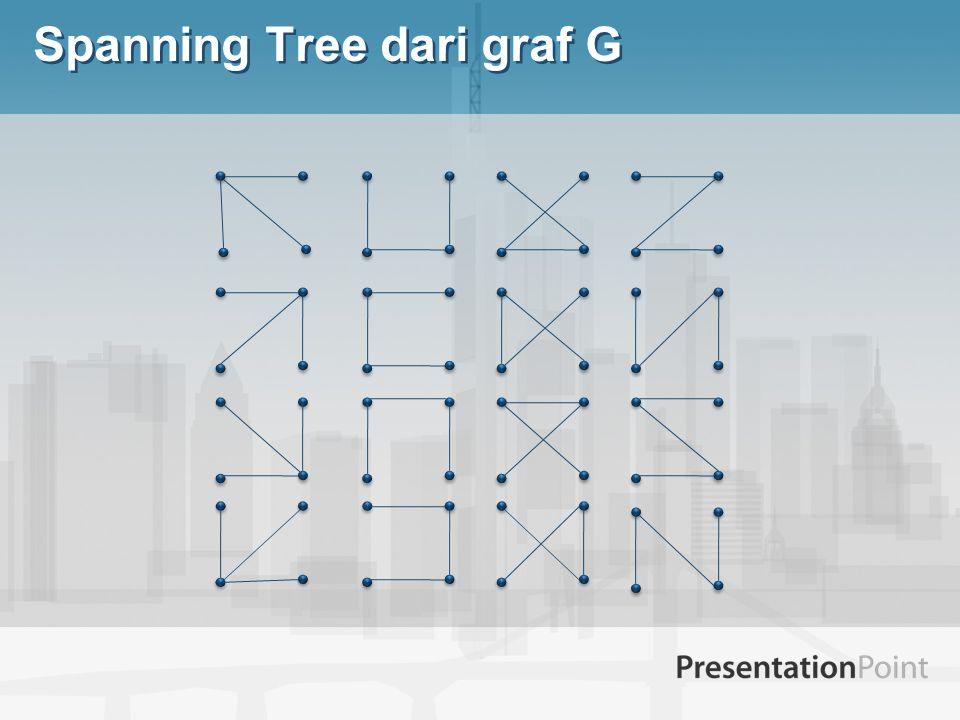 6 1 7 5 4 3 2 Barisan Spanning Tree K 7 (3,3,4, 4) Akan ditemukan satu persatu koresponden antara Spanning Tree K n dan barisan dari panjang n-2 yang elemennya adalah 1,2,3, …, n sehingga kita dapat menggambarkan setiap pohon dengan barisan dimana tidak ada 2 pohon yang digambarkan dengan barisan yang sama.