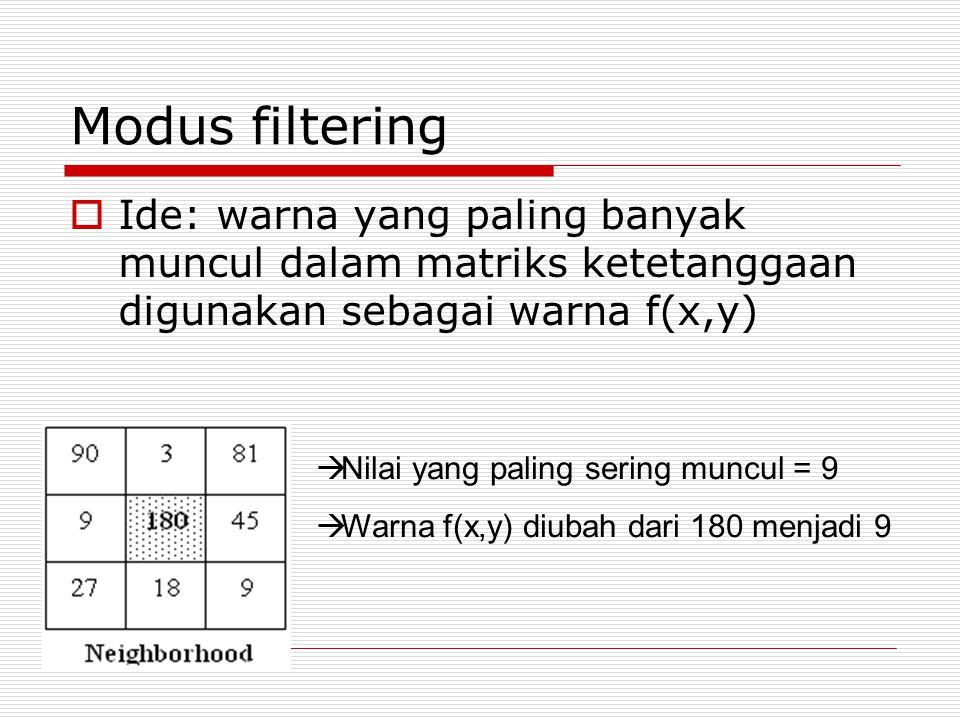 Modus filtering  Ide: warna yang paling banyak muncul dalam matriks ketetanggaan digunakan sebagai warna f(x,y)  Nilai yang paling sering muncul = 9  Warna f(x,y) diubah dari 180 menjadi 9