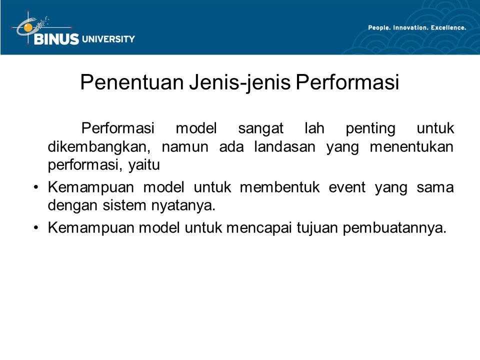 Penentuan Jenis-jenis Performasi Performasi model sangat lah penting untuk dikembangkan, namun ada landasan yang menentukan performasi, yaitu Kemampua