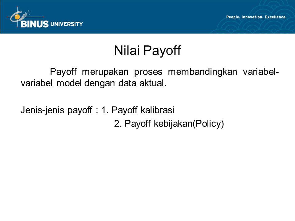 Nilai Payoff Payoff merupakan proses membandingkan variabel- variabel model dengan data aktual. Jenis-jenis payoff : 1. Payoff kalibrasi 2. Payoff keb