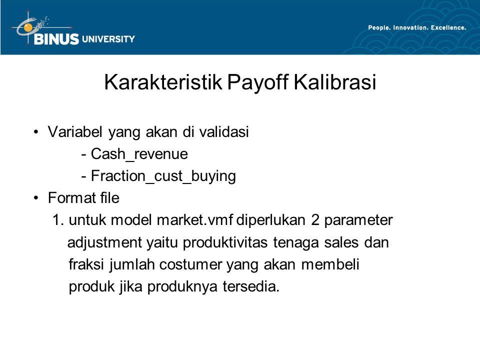 Karakteristik Payoff Kalibrasi Variabel yang akan di validasi - Cash_revenue - Fraction_cust_buying Format file 1. untuk model market.vmf diperlukan 2