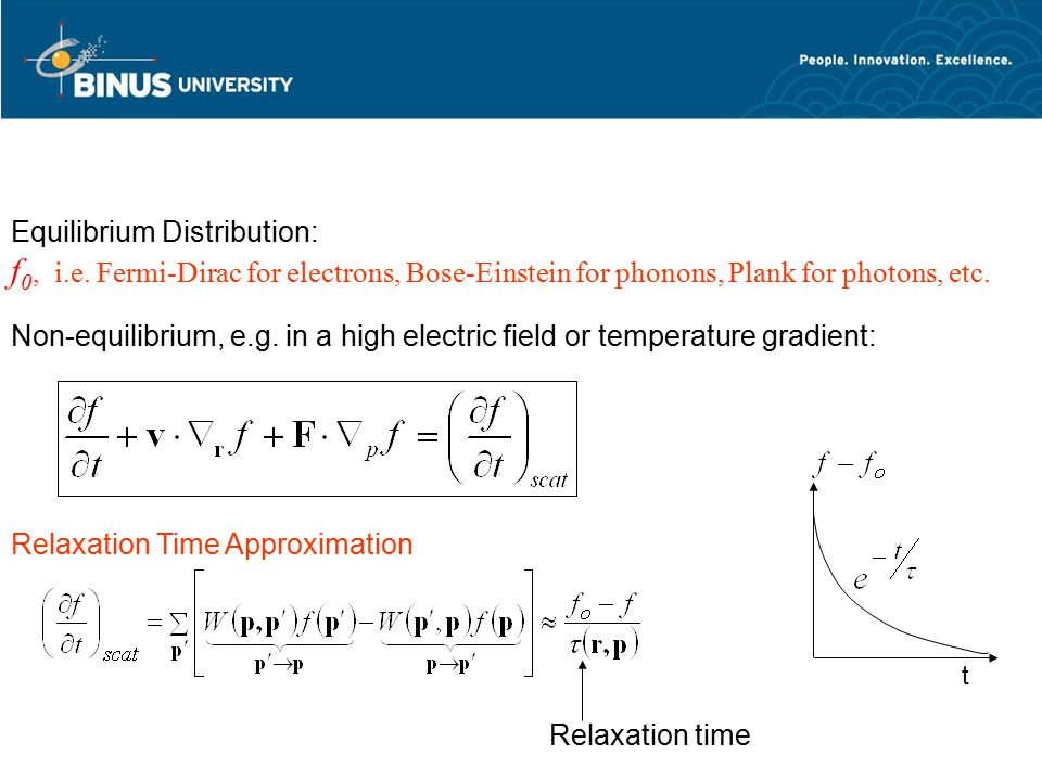 Relaxation Time Approximation t Equilibrium Distribution: f 0, i.e. Fermi-Dirac for electrons, Bose-Einstein for phonons, Plank for photons, etc. Rela